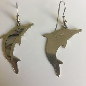 dolphin and mother of pearl earrings